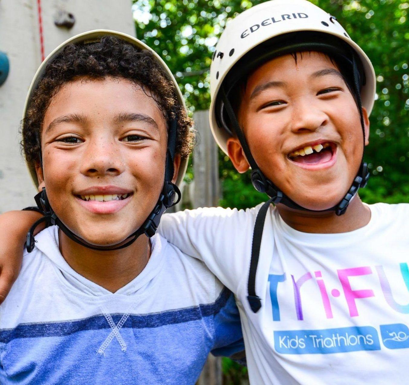 Neurodiverse kids feeling good after climbing our rock wall